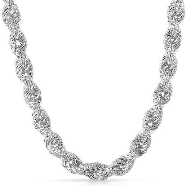 11mm Sterling Silver Iced Out Rope Chain