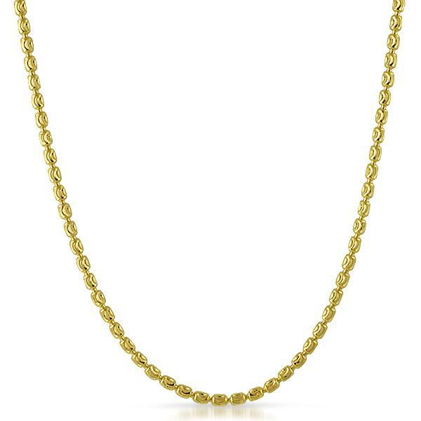 3mm Gold 925 Silver Moon Cut Barrel Chain