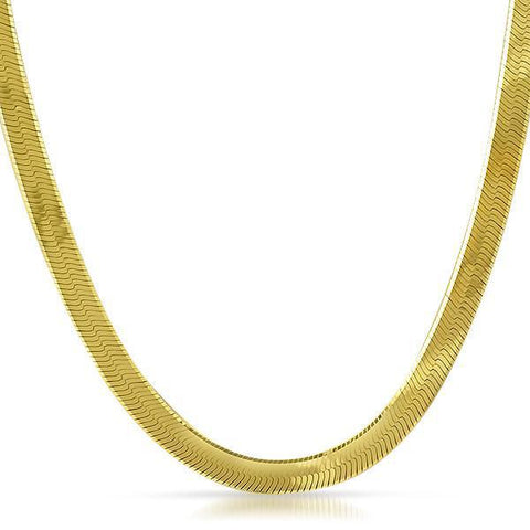 7mm Gold 925 Silver Italian Herringbone Chain