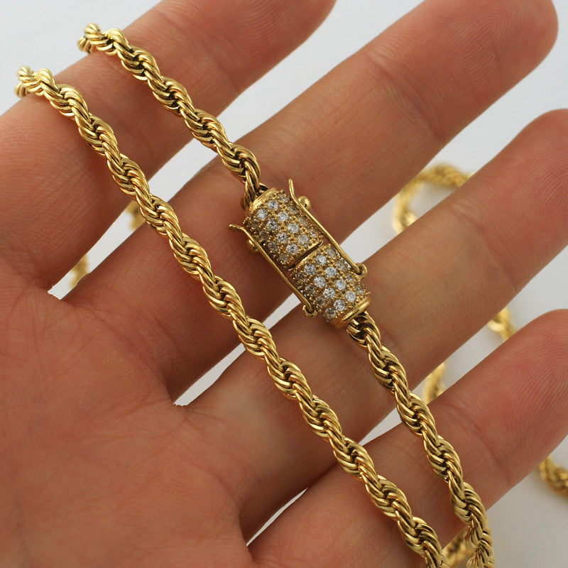 4mm 18K Gold IP Luxury Edition Rope Chain