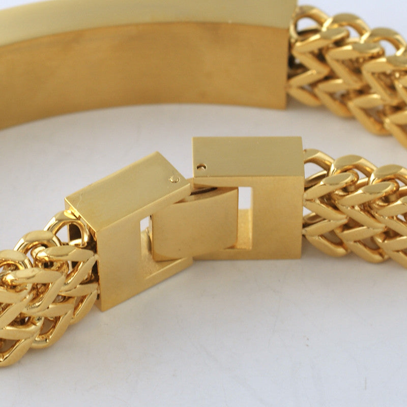 14K Gold IP Iced Plate Double Franco Bracelet