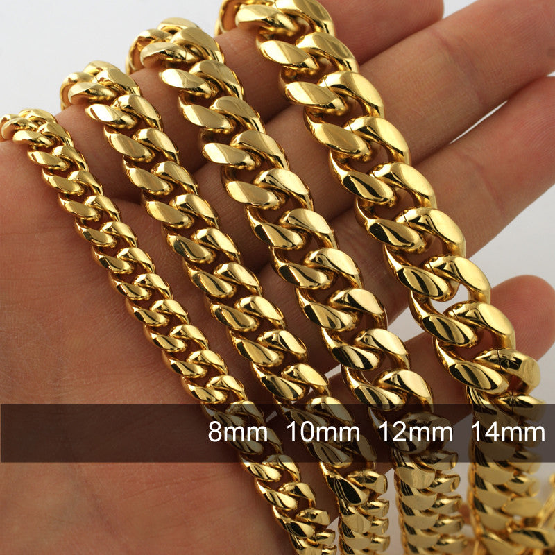 14mm Gold Premium Miami Cuban Bracelet