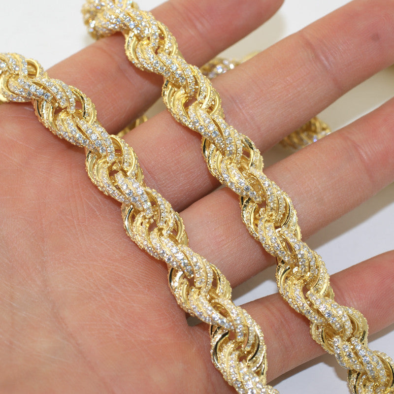 11mm Gold 925 Silver Iced Out Rope Chain