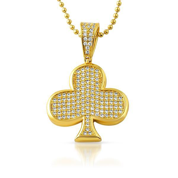 Gold Iced Poker Clubs Pendant Chain Set