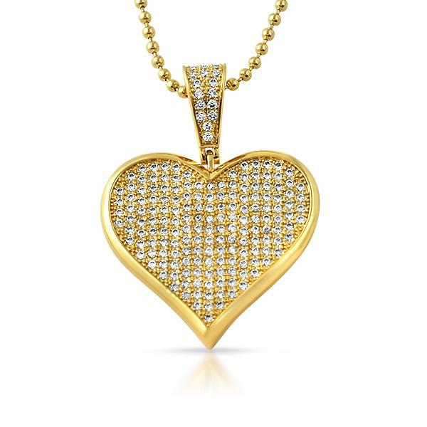 Gold Iced Poker Heart Pendant Chain Set