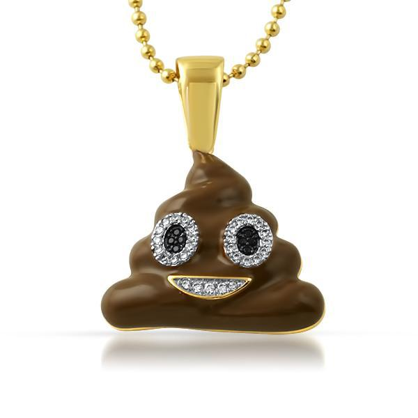 Gold Brown Poop Emoji Pendant Chain Set