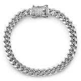10mm Stainless Steel Cuban Bracelet Diamond Lock