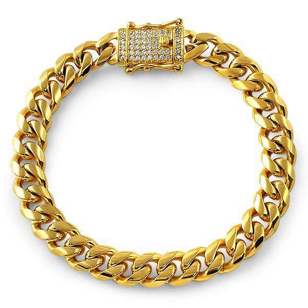 12mm Gold Cuban Bracelet With CZ Diamond Lock
