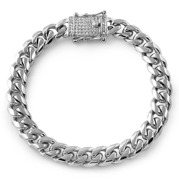 12mm Stainless Steel Cuban Bracelet Diamond Lock
