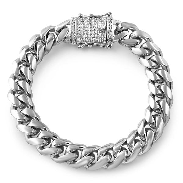 14mm Stainless Steel Cuban Bracelet Diamond Lock