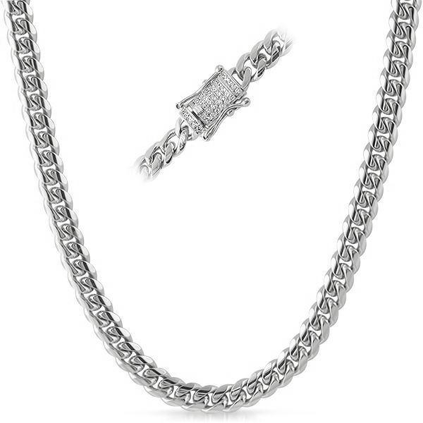 8mm Iced Clasp Stainless Steel Premium Cuban Chain