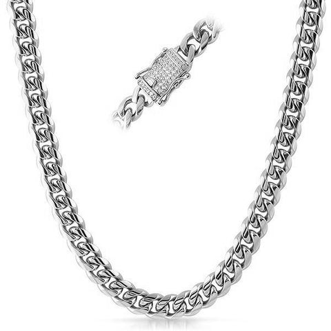 10mm Iced Clasp Stainless Steel Premium Cuban Chain