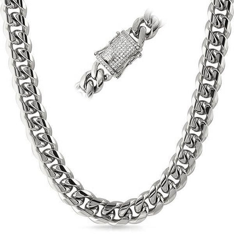 14mm Stainless Steel Iced Clasp Premium Cuban Chain