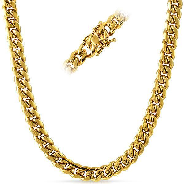 8mm 14K Gold IP Premium Miami Cuban Chain