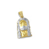 10K Gold Two Tone Diamond Cut Jesus Piece