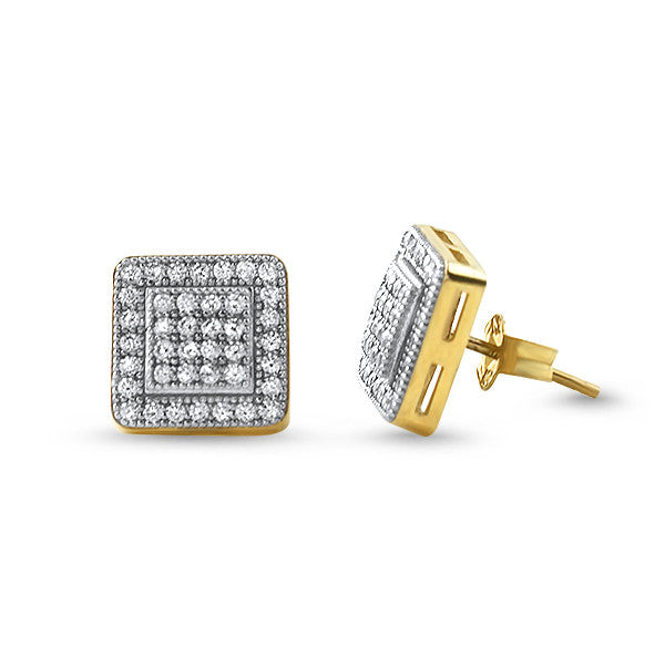 10K Gold Micropave CZ Square Earrings