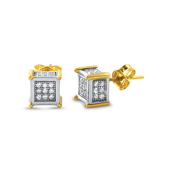 10K Gold Two Tone Small Cube CZ Earrings