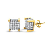 10K Gold Two Tone Large Cube Earrings
