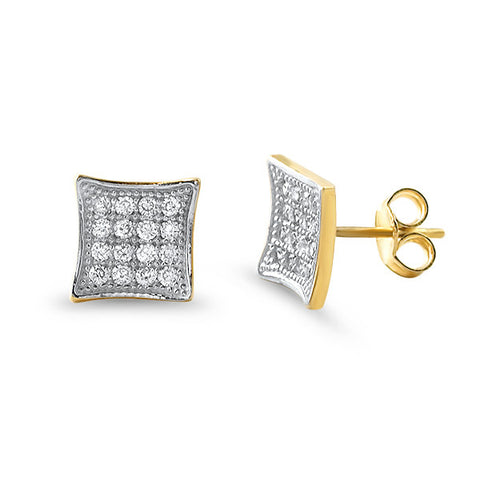 10K Gold Iced Out Kite Earrings