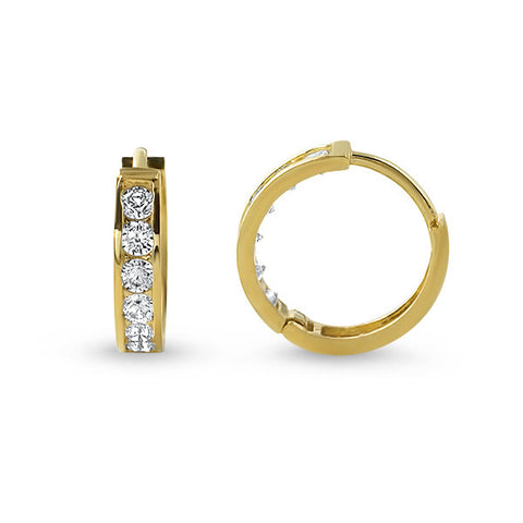 10K Gold CZ Small Hoop Earrings
