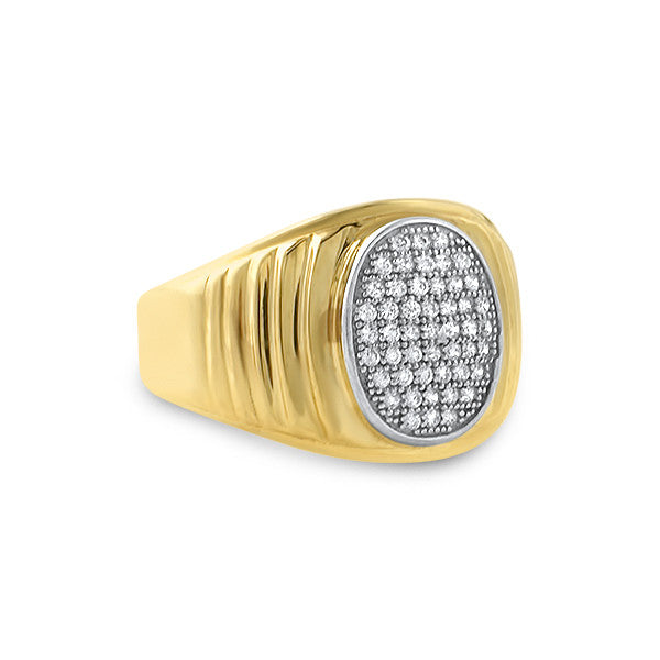 0.50 Carat Solid Gold Oval Mens Ring