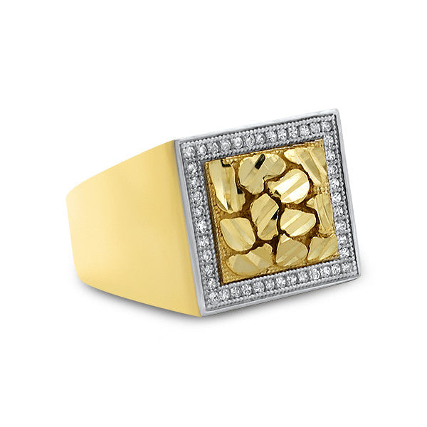 10K Gold Stone Iced Border Nugget Ring