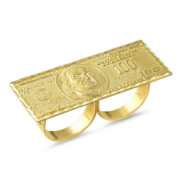 Gold 100 Dollar Bill Knuckle bar Ring