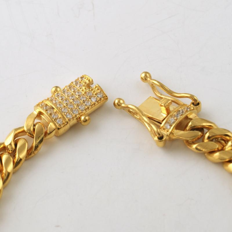 8mm Gold Cuban Bracelet With CZ Diamond Lock