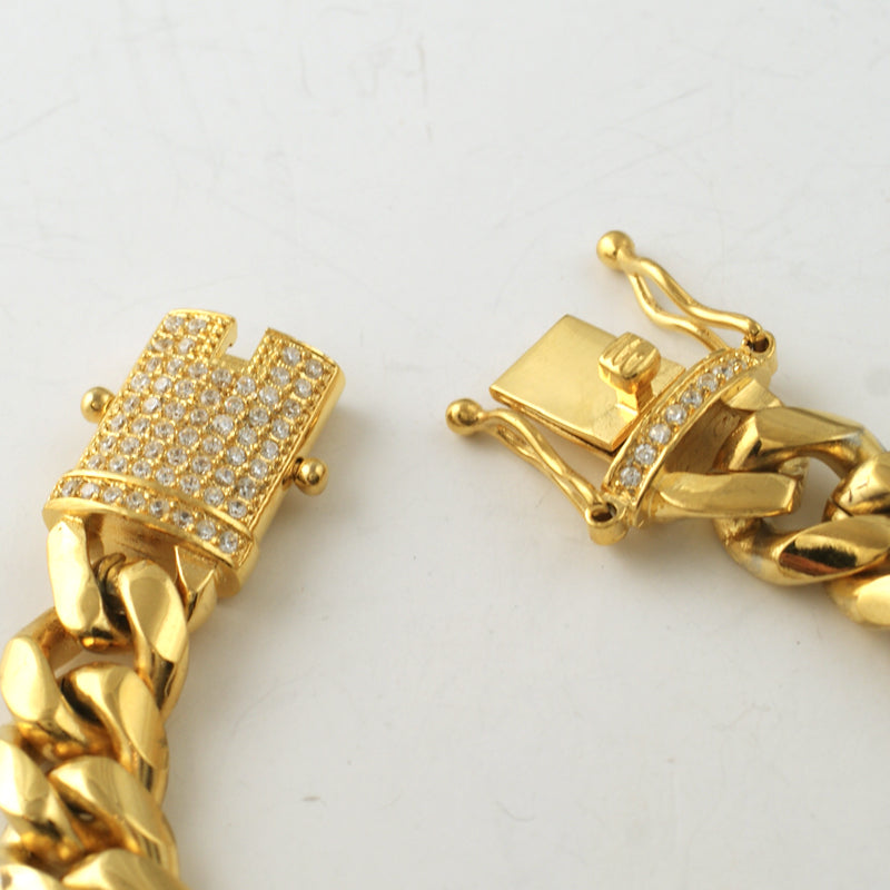 14mm Gold Cuban Bracelet With CZ Diamond Lock