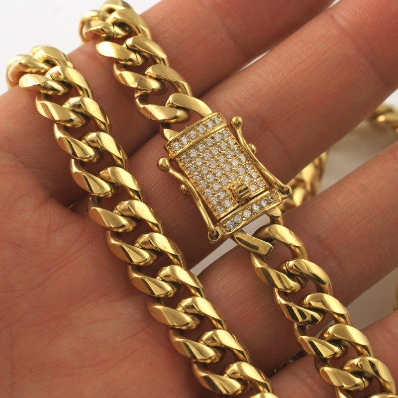 10mm CZ Diamond Clasp Gold Premium Cuban Chain