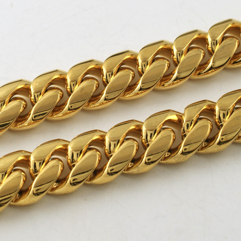 12mm 14K Gold IP Premium Miami Cuban Chain