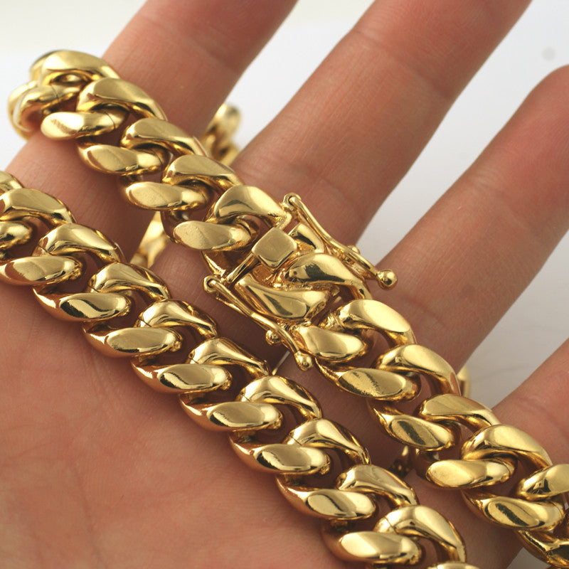 14mm 14K Gold IP Premium Miami Cuban Chain