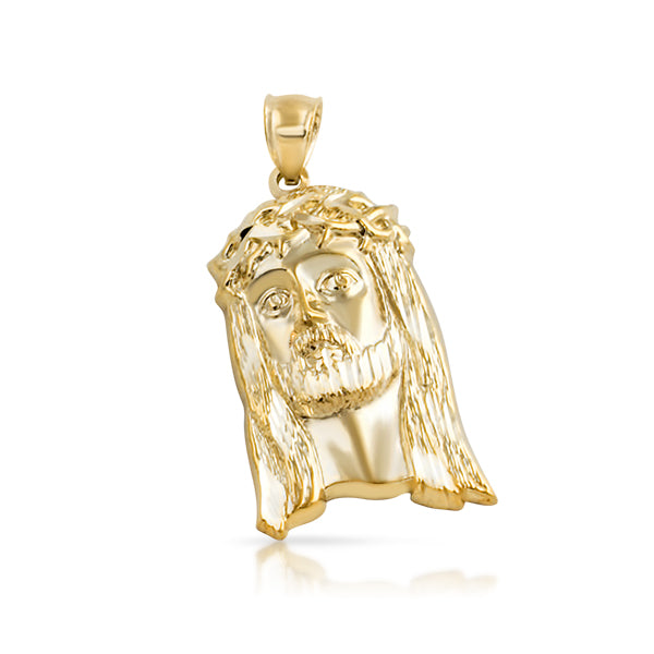 10K Gold Diamond Cut Fancy Jesus Pendant