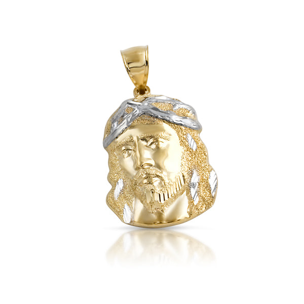 10K Gold Diamond Cut Mini Jesus Piece