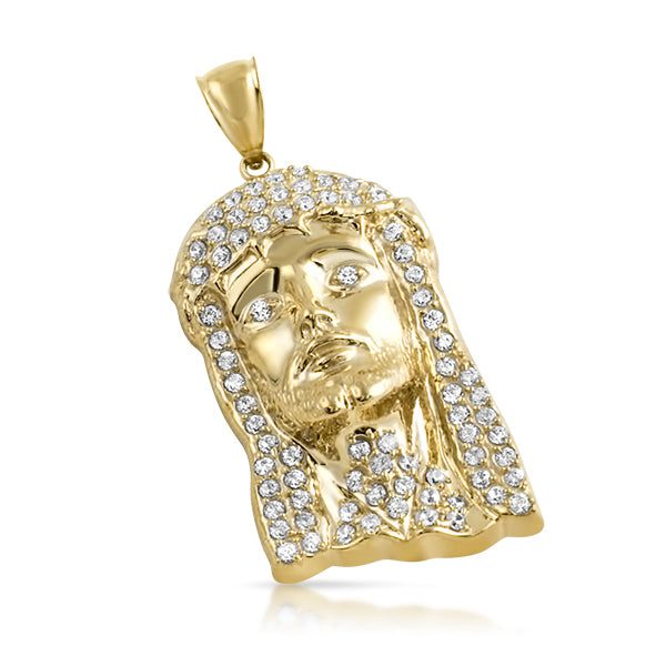 10K Gold Large Iced 3D Jesus Piece