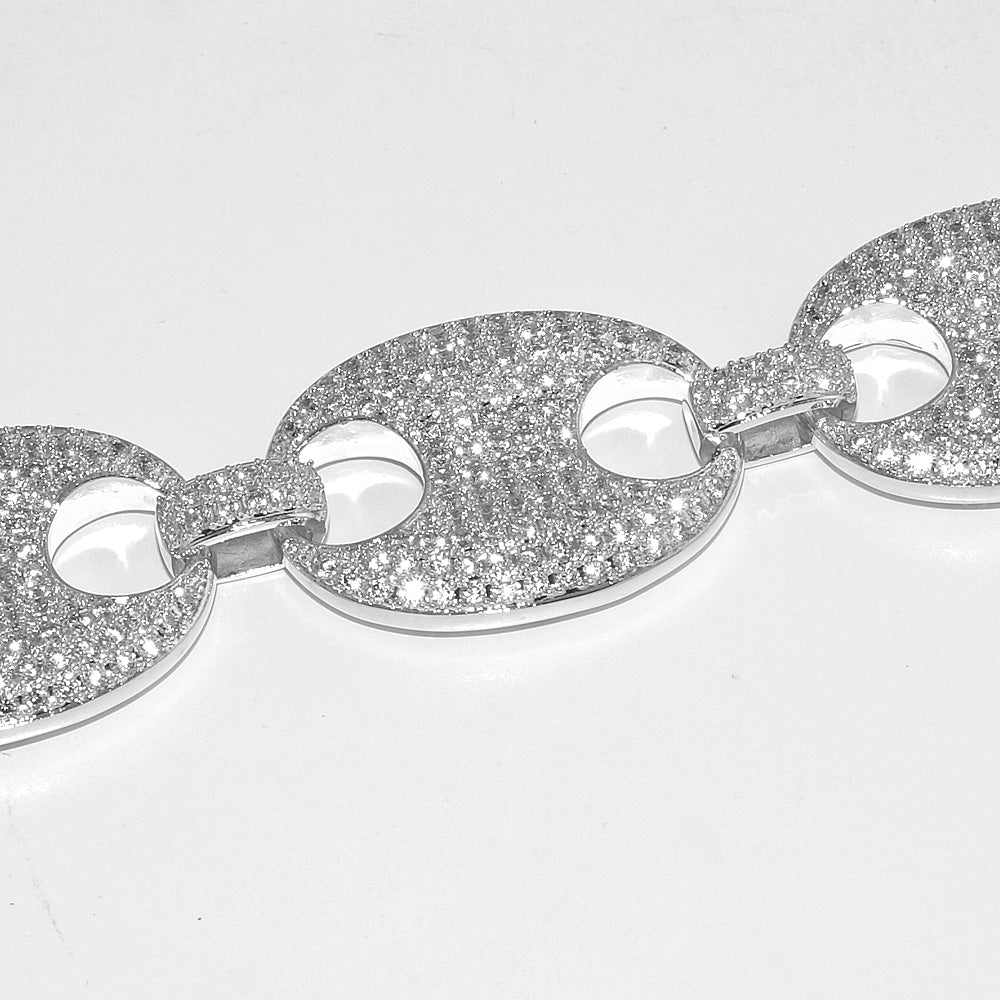 Sterling Silver Fully Loaded 24mm Iced Mariner Chain