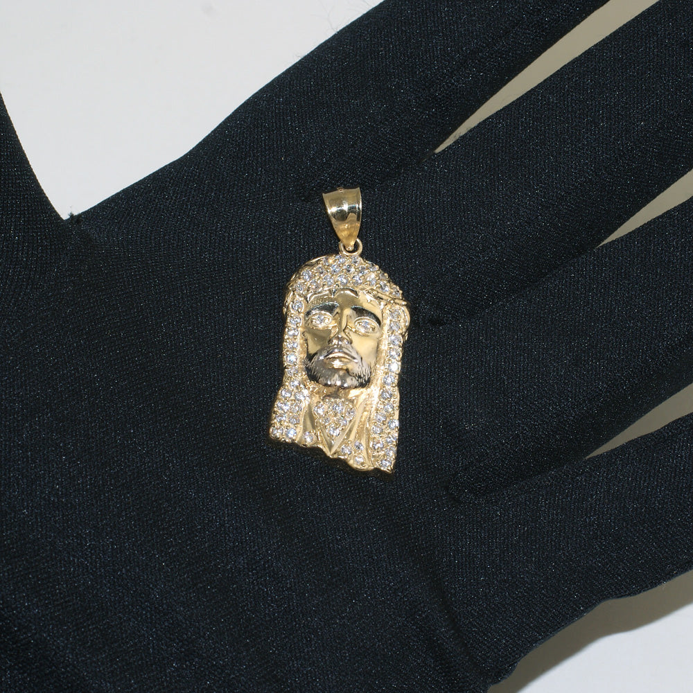 10K Gold Iced Out 3D Jesus Piece