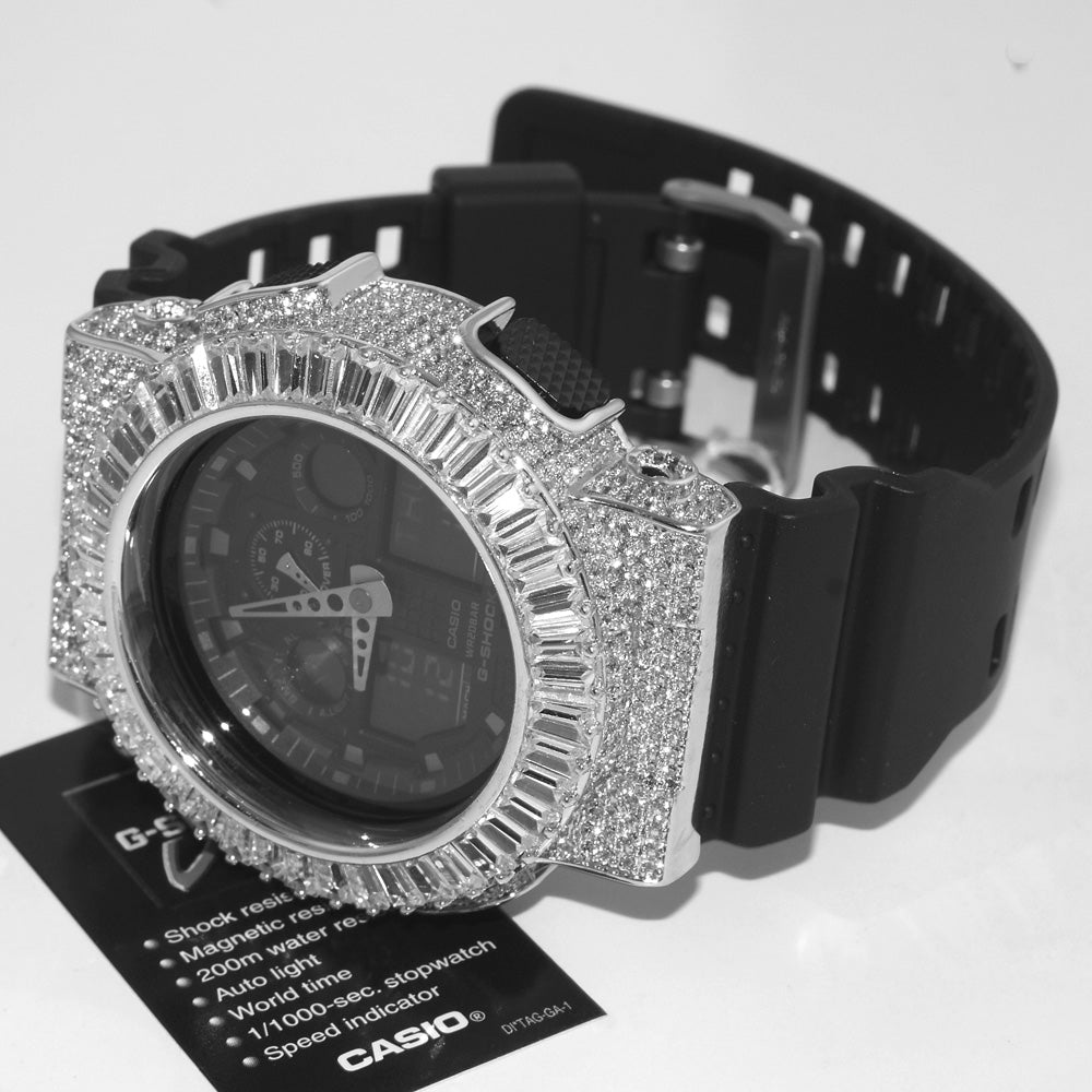Silver Baguette Custom Jumbo G Shock Watch