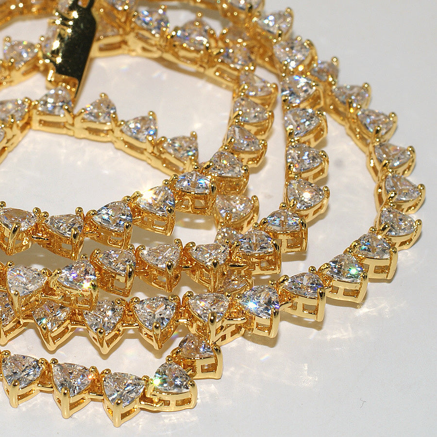 Exotic Trillion Cut Lab Made Gold Tennis Chain