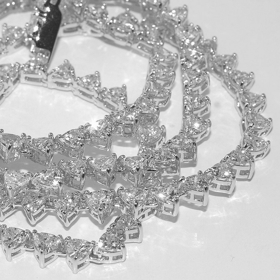 Exotic Trillion Cut Lab Made Rhodium Tennis Chain