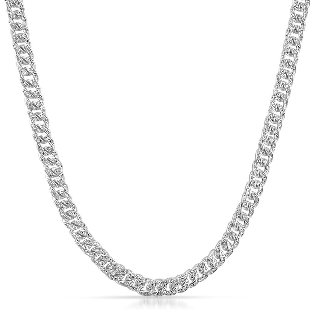 6mm Iced Out Miami Cuban Chain White Gold