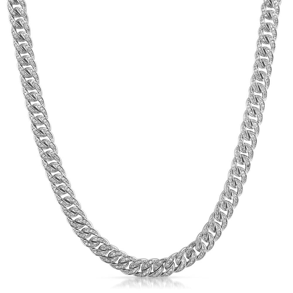 Sterling Silver 8mm Iced Out Cuban Chain