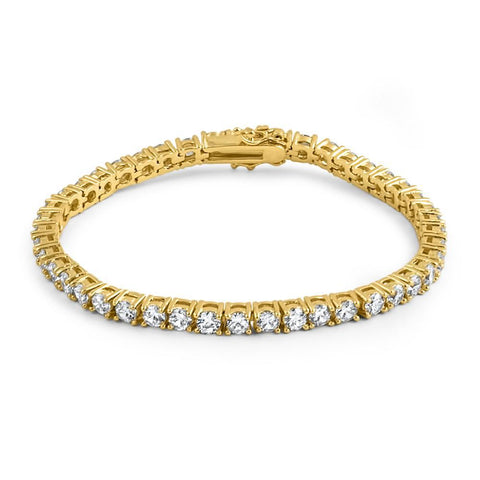 4mm Gold VVS Flawless Lab Diamond Tennis Bracelet