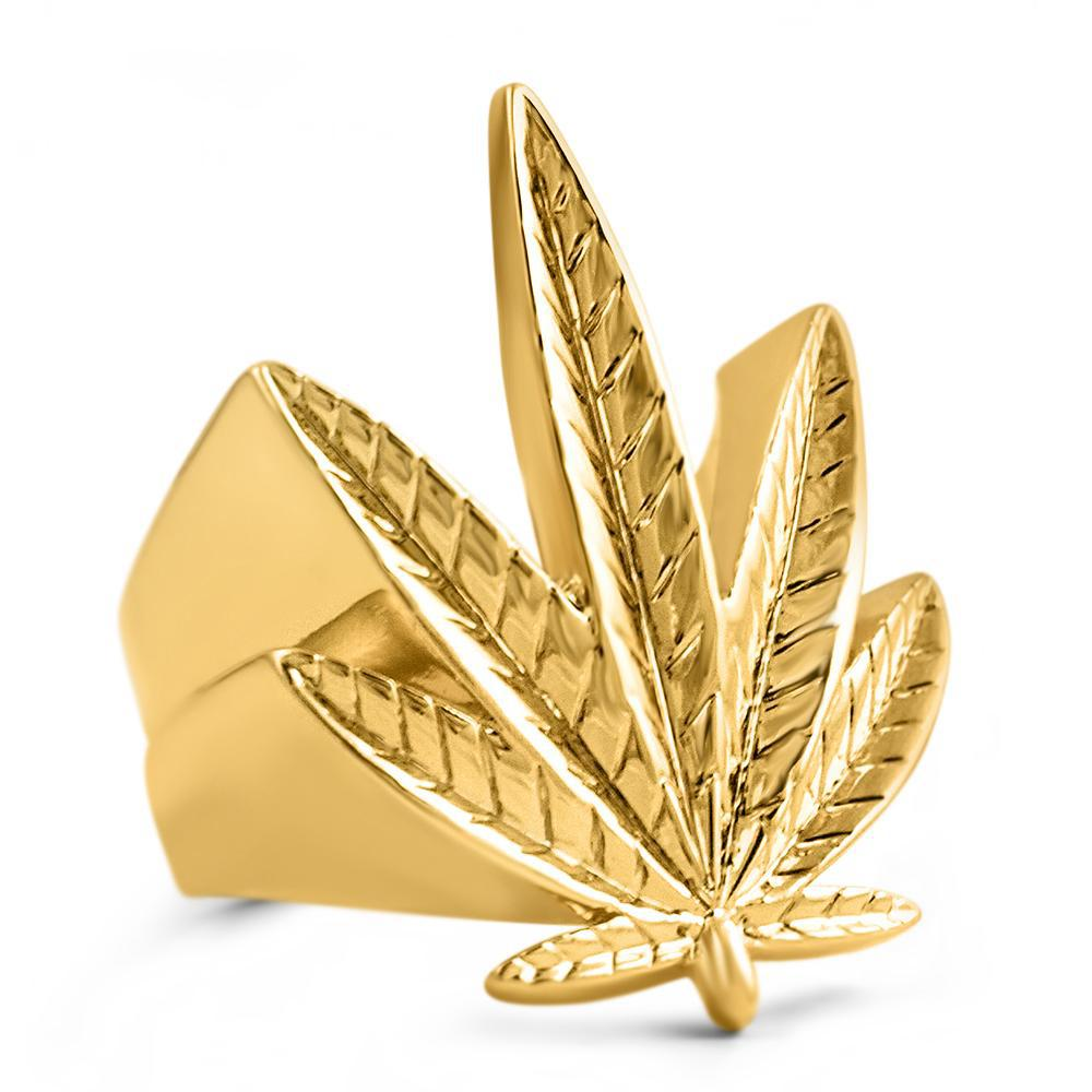 18K Gold 3D Plain Marijuana Leaf Ring