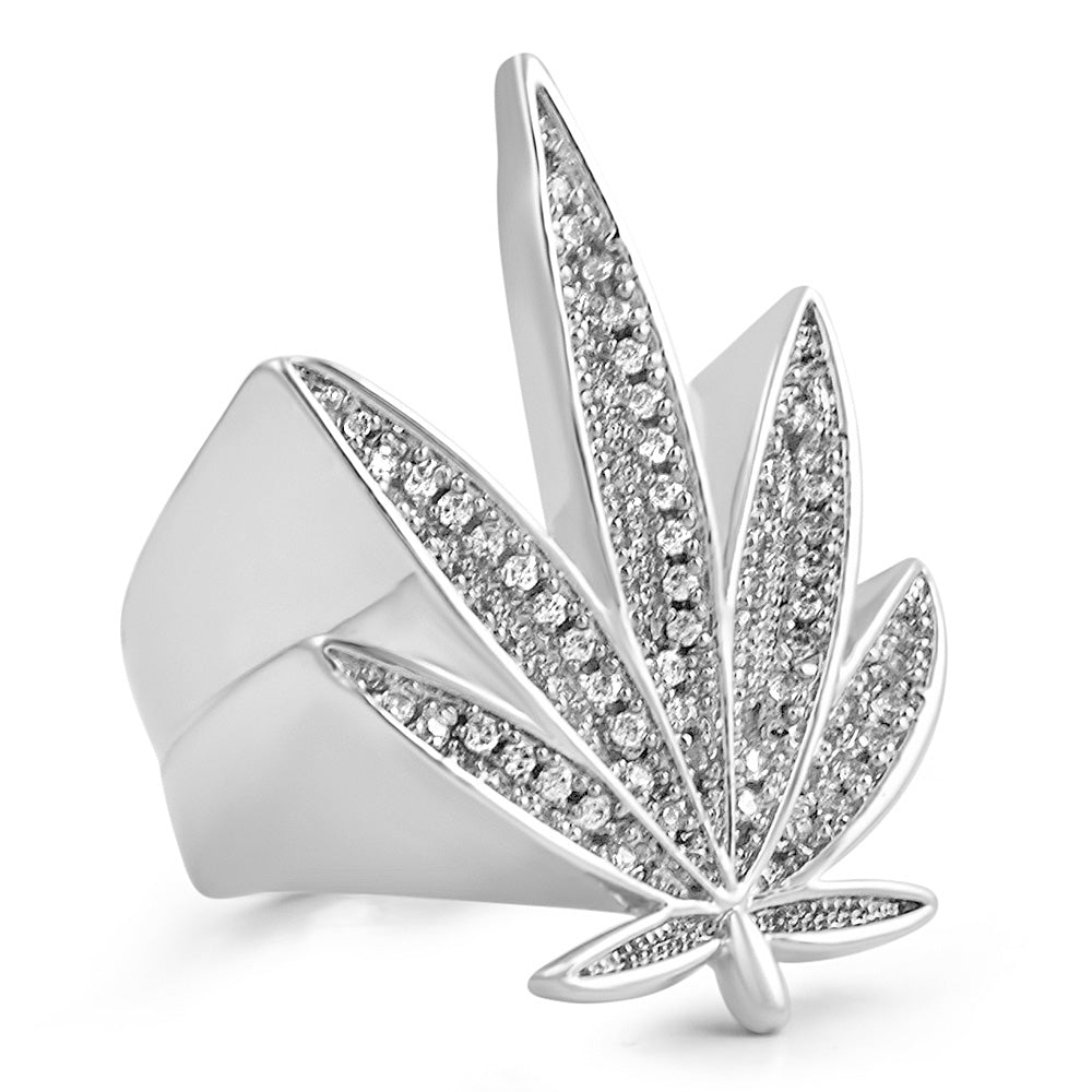 White Gold 3D Marijuana Leaf Iced Out Ring