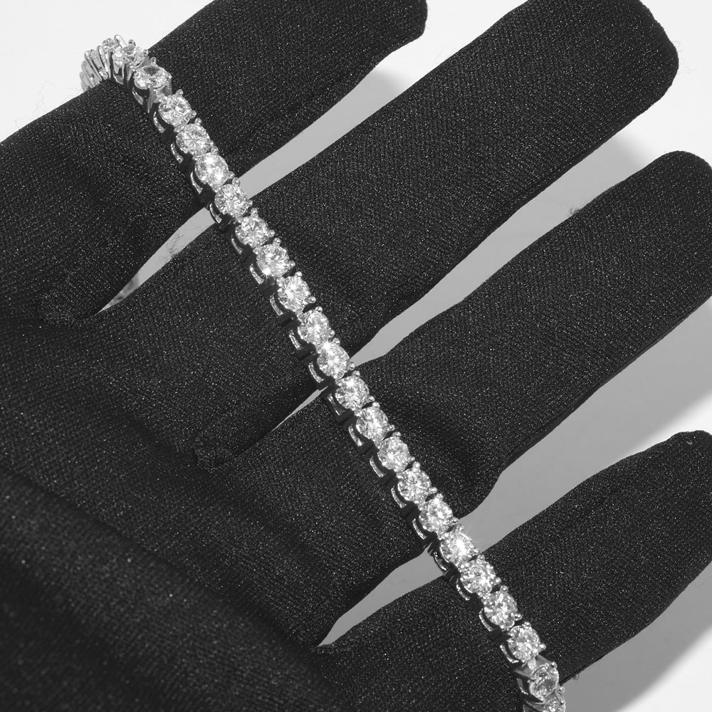 4mm White Gold Lab Diamond Tennis Bracelet