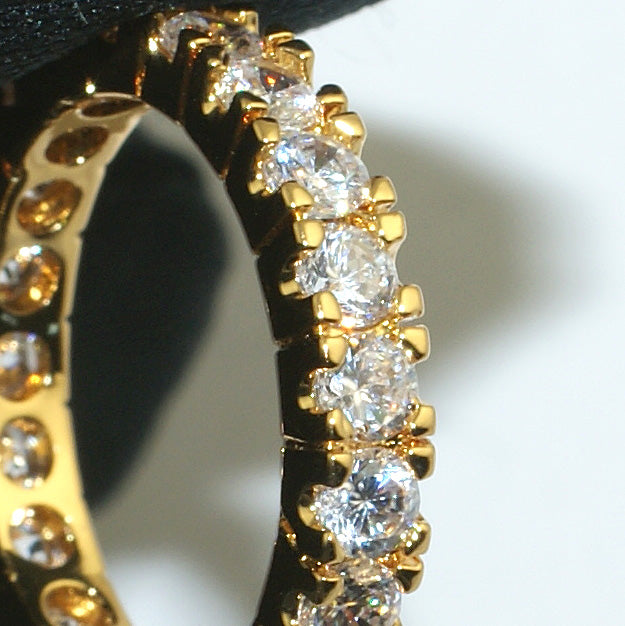 Gold Classic 3mm Iced Out Eternity Ring