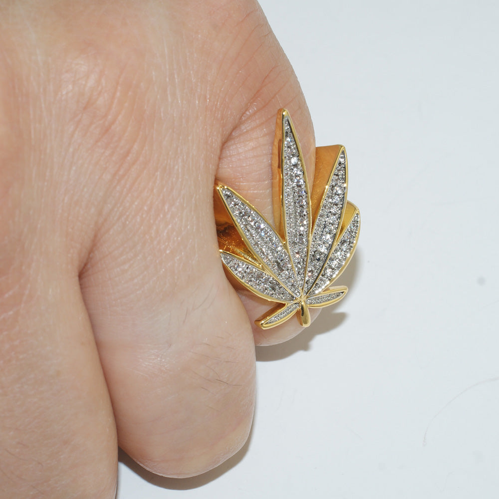 Gold 3D Marijuana Leaf Iced Out Ring