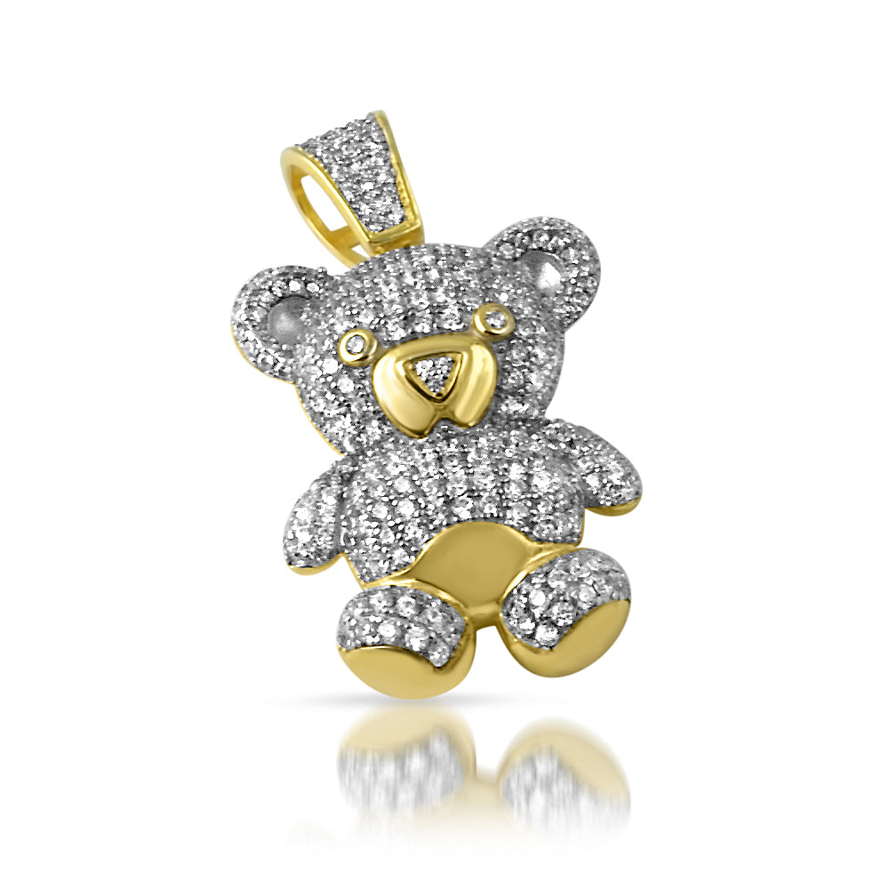 Gold 925 Silver 3D Mini Teddy Bear Charm