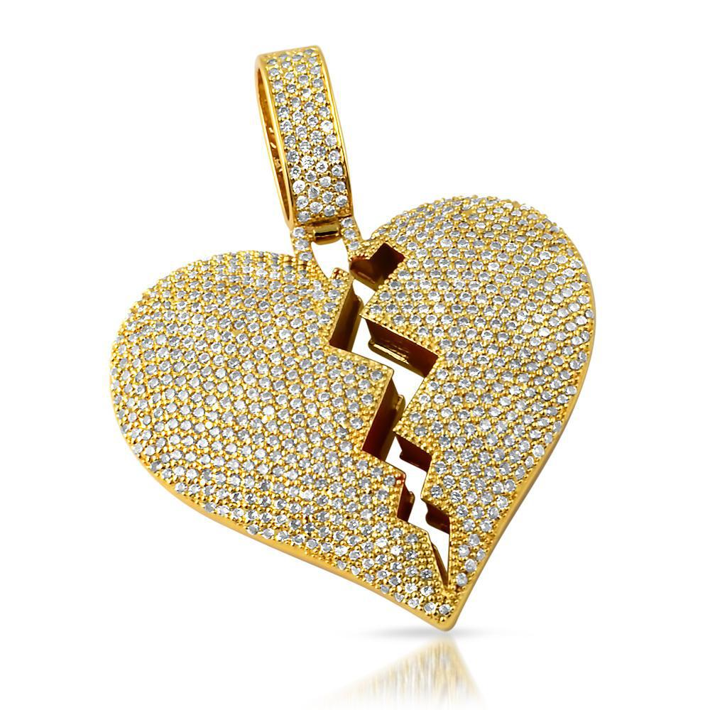 Gold Large Heart Breaker Pendant